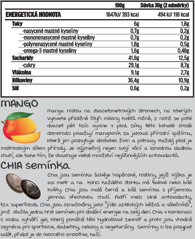 Fit-day Superfood CHIA-MANGO 600g
