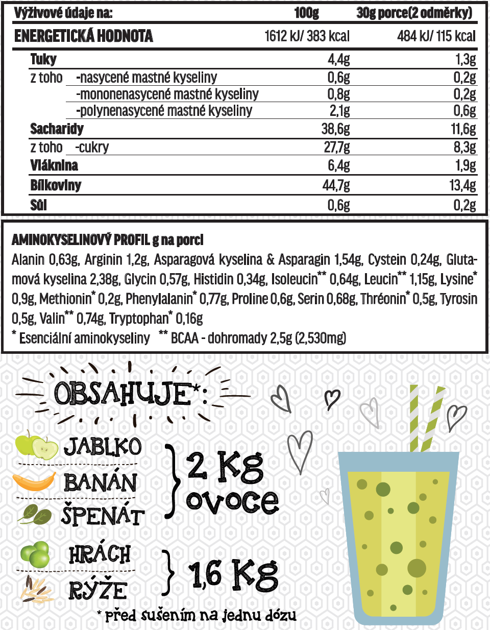 Fit-day Smoothie špenát-banán 600g
