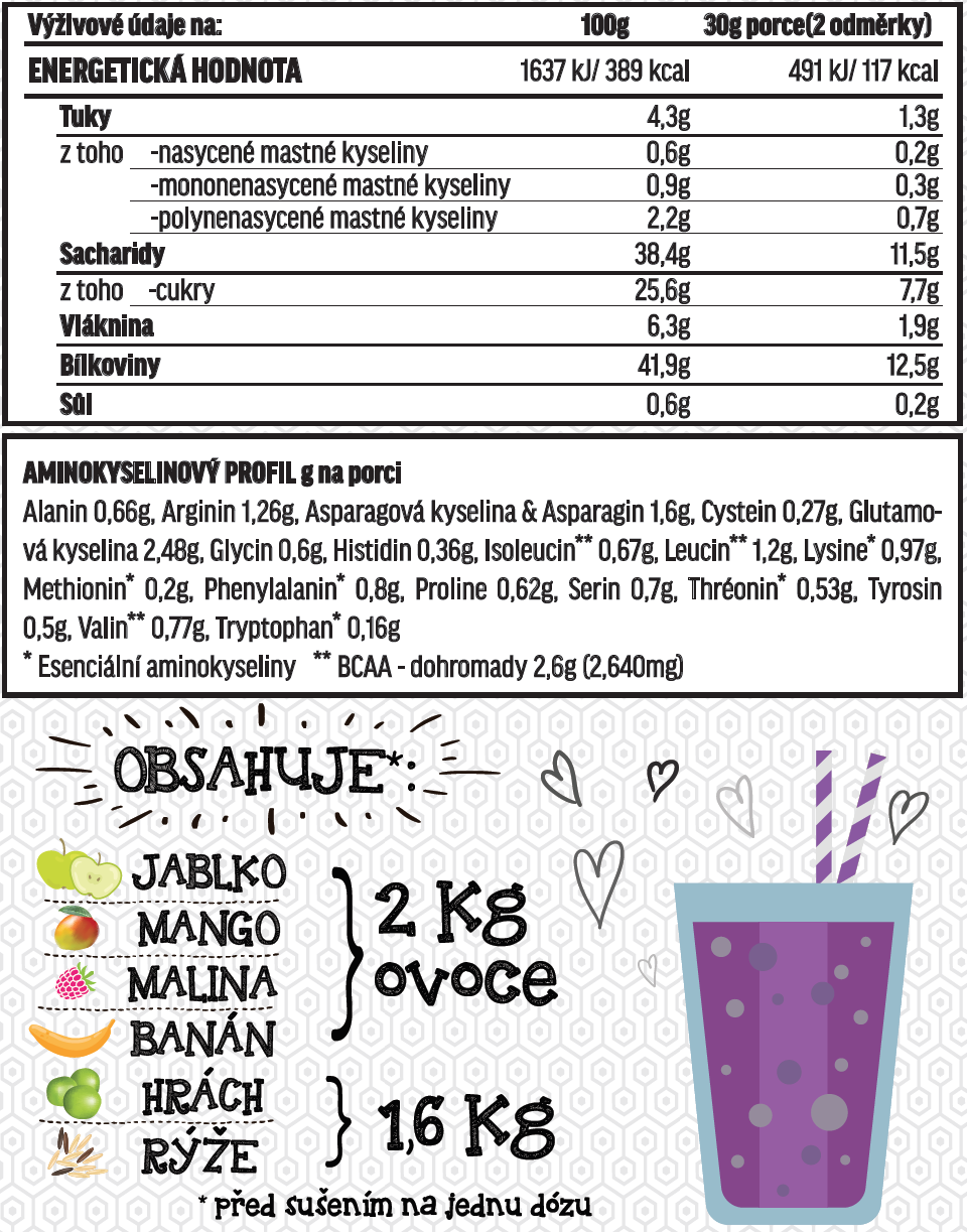 Fit-day Smoothie mango-malina 600g